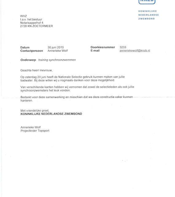 Bedankbrief van de KNZB