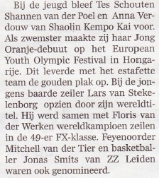 Tes Schouten wint sportprijs Bodegraven