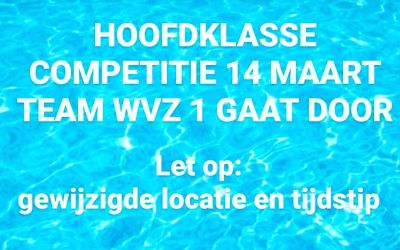Update zwemcompetitie Hoofdklasse, zaterdag 14 maart (TEAM WVZ 1)